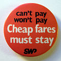 Cheap Fares campaign badge, 1981.jpg