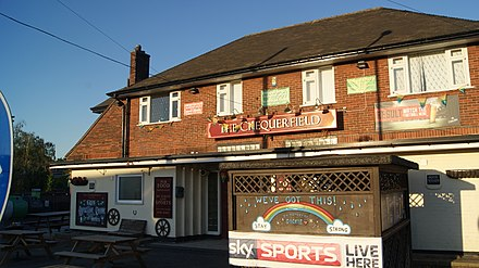 Pubs which have Sky Sports often display it, such as this one in Chequerfield, Pontefract, West Yorkshire. Chequerfield Hotel, The Circle, Pontefract temporarily closed due to the COVID-19 pandemic (1st June 2020) 004.jpg