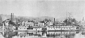 Northwest (sternwheeler) - Chester (on left) and Northwest (on right), at Castle Rock, circa 1905.