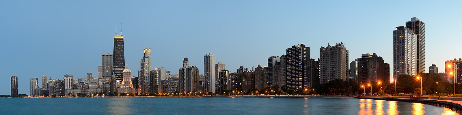 Chicago skyline at dusk from North Avenue