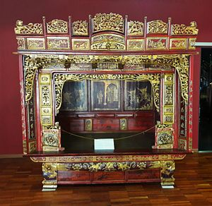 Chinese pre-wedding customs - Traditional bridal bed, early 20th century, Asia and Pacific Museum in Warsaw