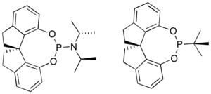 Asymmetric hydrogenation - Chiral phosphoramidite and phosphonite ligands used in the asymmetric hydrogenation of enamines.