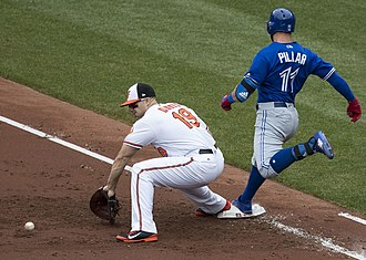 Baseball field - Kevin Pillar of the Toronto Blue Jays reaches first base safely as Chris Davis of the Baltimore Orioles attempts to scoop a bouncing ball thrown by one of the other infielders during a game in May 2017