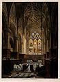 Christ Church, Oxford; prayers in the chapel. Coloured aquat Wellcome V0014076.jpg