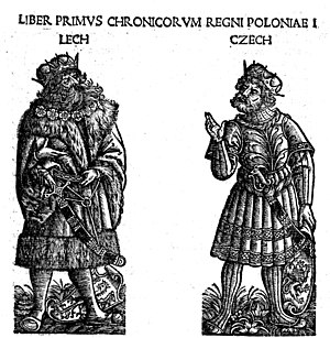 "Lechites - The brothers Lech and Czech, legendary founders of West Slavic lands of Lechia (Poland) and Bohemia in ""Chronica Polonorum"" (1506) by Maciej Miechowita"