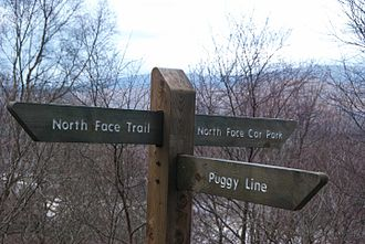 Càrn Mòr Dearg - Signage on the path from the North Face Car Park to Ben Nevis and CMD