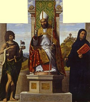 St Lanfranc enthroned between St John the Baptist and St Liberius - Image: Cima di Conegliano.Lanfranco di Pavia