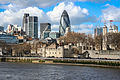 City of London Tower of London and 30 St Mary Axe view from Tower bridge.jpg