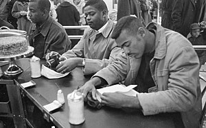 Sit-in movement - Student sit-in at Woolworth in Durham, North Carolina on February 10, 1960.