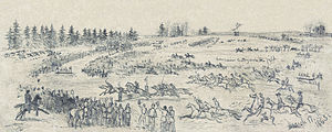 Steeplechase - Saint Patrick's Day celebration in the Army of the Potomac.  Depicts a steeplechase race among the Irish Brigade, 17 March 1863, by Edwin Forbes.  Digitally restored.