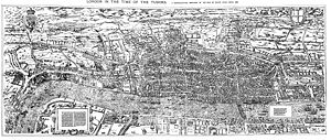 "Great Plague of London - The ""Woodcut"" map of London, dating from the 1560s"