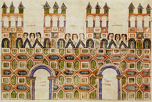 Abu Jafar ibn Harun al-Turjali - Muladi art from Toledo in Al-Andalus depicting the Alcázar in the year 976.AD