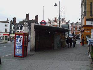 Clapham Common tube station - The new glass entrance pavilion at Clapham Common South Side