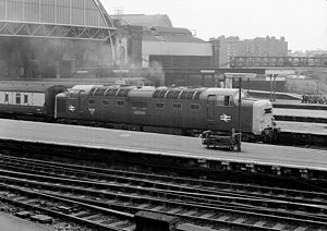 British Rail Class 55 - 55 018 Ballymoss at London Kings Cross in 1976