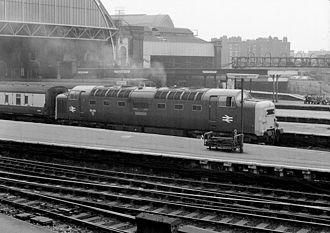 British Rail Class 55 - 55 018 Ballymoss at London Kings Cross in 1976