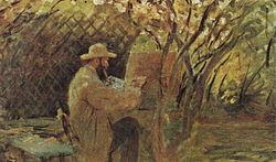 Claude Monet: Manet painting in Monet's Garden in Argenteuil.