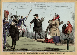 Cock throwing - Wellington appears as the cock in this cartoon depicting cock throwing from around the 1820s.