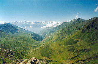 Col du Tourmalet - View from the Col du Tourmalet to its western side