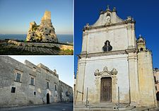 Top left Nasparo Tower, bottom left Baronial Serafini Palace, right Saint Ippazio Cathedral