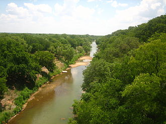 San Saba County, Texas - The Colorado River of Texas, from the Regency Suspension Bridge, on the border of Mills and San Saba Counties