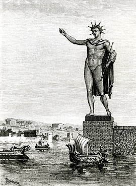 The Colossus of Rhodes, one of the seven wonders of the ancient world. Colosse de Rhodes (Barclay).jpg