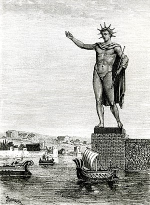 The New Colossus - The Colossus of Rhodes, as depicted in an artist's impression of 1880