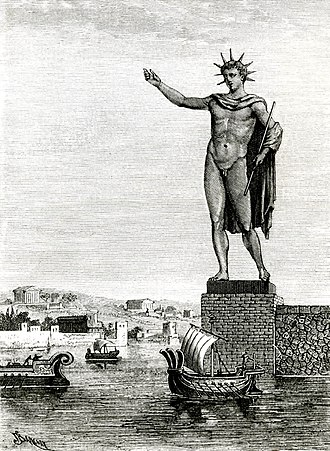 226 BC Rhodes earthquake - An 1880 portrayal of the Colossus of Rhodes, which was destroyed in the earthquake of 226 BC.