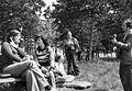 Companionship, excursion, woods, air mattress, camera, guitar, genre painting Fortepan 10384.jpg