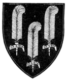 "Fig. 478.—The ""Shield for Peace"" of Edward the Black Prince (d. 1376): Sable, three ostrich feathers with scrolls argent. (From his tomb in Canterbury Cathedral.)"