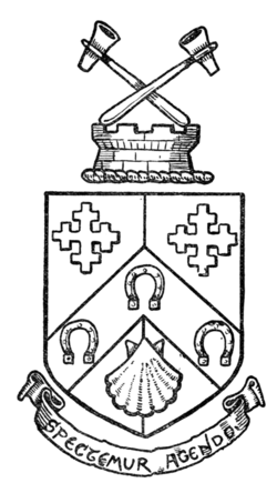 "Fig. 554.—Arms of Hammersmith: Party per pale azure and gules, on a chevron between two cross crosslets in chief and an escallop in base argent, three horseshoes of the first. Crest: on a wreath of the colours, upon the battlements of a tower, two hammers in saltire all proper. Motto: ""Spectemur agendo."""