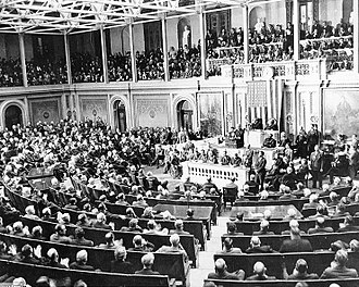 Procedures of the United States Congress - President Franklin Delano Roosevelt delivers his annual State of the Union speech to Congress in 1941. The annual speech is a custom re-established by President Woodrow Wilson.
