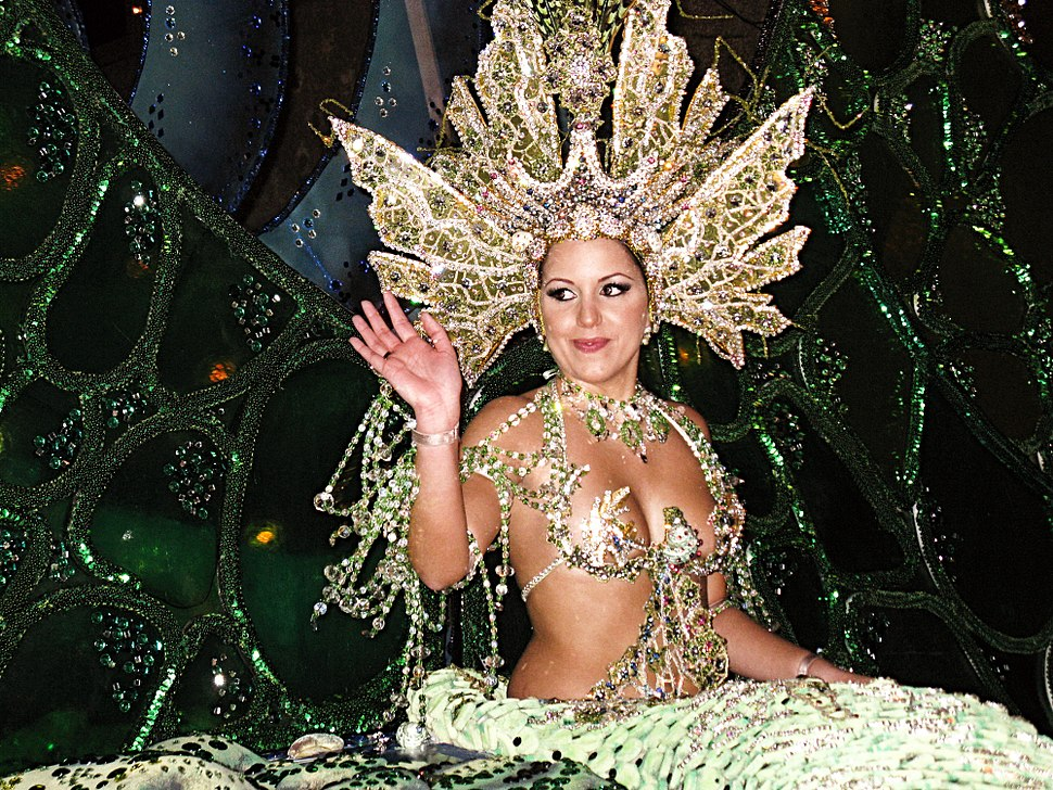Contestant Angeles Hernández Paez performs during the Tenerife Carnival Queen 2009 contest in Santa Cruz de Tenerife