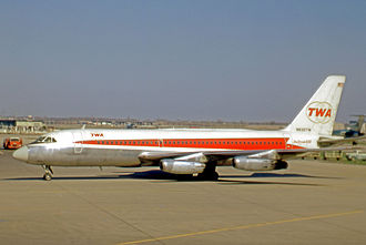 TWA added the Convair 880 jet airliner to its US-based fleet beginning in 1960. Convair 880 N830TW TWA ORD 24.04.71 edited-3.jpg