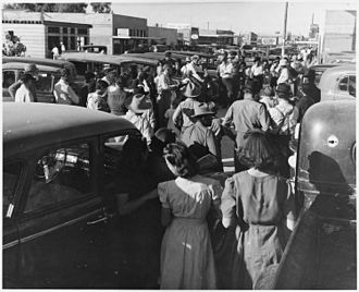 Coolidge, Arizona - Main street of Coolidge on a Saturday afternoon during cotton harvest (ca. 1922-1953)