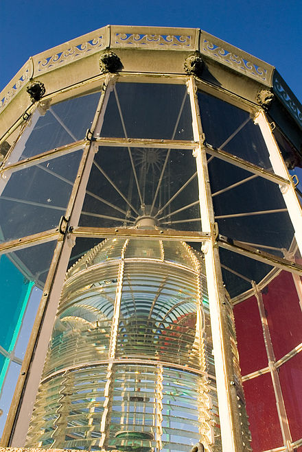 "The lantern room of the Cordouan Lighthouse, in which the first Fresnel lens entered service in 1823. The current fixed catadioptric ""beehive"" lens replaced Fresnel's original rotating lens in 1854. Cordouan6.jpg"