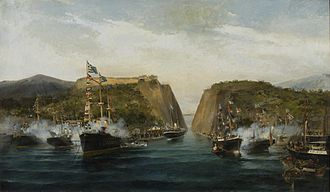 Corinth Canal - The Inauguration of the Corinth Canal (1893) by Konstantinos Volanakis.