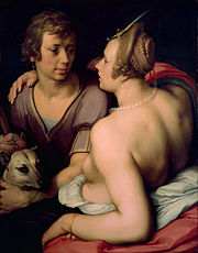 A painting of Venus and Adonis by Cornelis van Haarlem, 1614