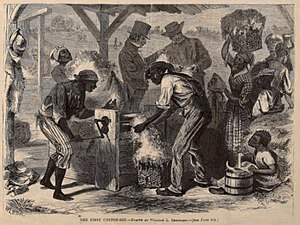 "Economic history of the United States - ""The First Cotton Gin"" conjectural image from 1869"