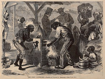 """The First Cotton Gin"" conjectural image from 1869 Cotton gin harpers.jpg"