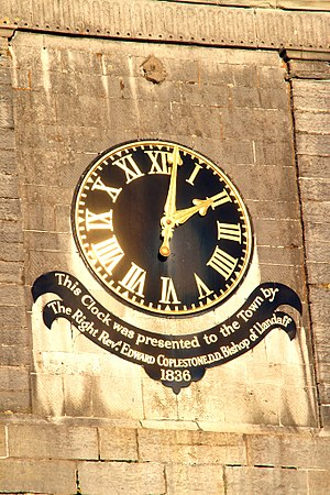 Cowbridge - Cowbridge clock tower. It was presented to the town by the Bishop of Llandaff in 1836.