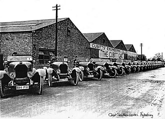 Aylesbury - Twenty Cubitt 16/20s in c.1922 publicity image at the Cubitt Car Factory, Great Southern Works, Bicester Road, Aylesbury.