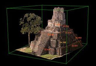 Tikal Temple II - Laser scan projection of Temple II