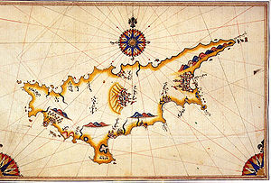 Cyprus dispute - Ottoman admiral, geographer and cartographer Piri Reis' historical map of Cyprus