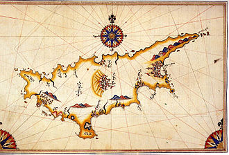 Turkish Cypriots - An early sixteenth century (ca.1521-25) map of Cyprus by the Ottoman cartographer Piri Reis .