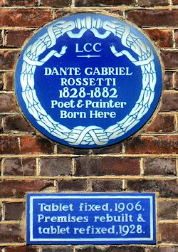 Photo of Dante Gabriel Rossetti blue plaque