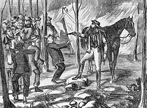 Dan Morgan (bushranger) - Morgan holding up a group of workers, setting their tents on fire, and shooting a Chinese man