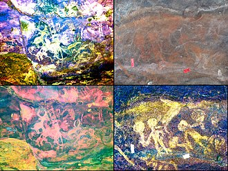 Cardamom Mountains - Left: animal scene panels enhanced with DStretch software. Note the random placement of mammals. Right: original and DStretch enhanced images of humans holding objects. Some have interpreted this to represent ritual scenes, perhaps dancing with musical instruments.