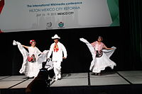 Dancing at the Wikimania 2015 Opening Ceremony IMG 7575.JPG