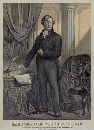 "Oath of Supremacy - Lithograph of Daniel O'Connell refusing to take the oath of supremacy. Caption: ""One part of this Oath I know to be false; and another I believe to be untrue. House of Commons, May 20, 1827."""
