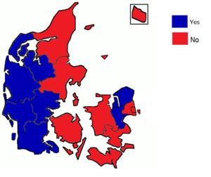 Danish Maastricht Treaty referendum, 1992 - Image: Danish Maastricht Treaty referendum results by county, 1992